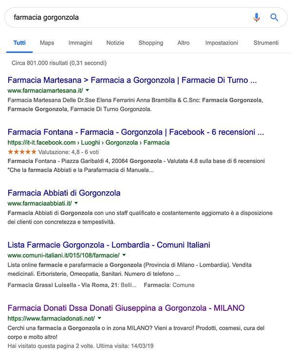 seo farmacia google primo posto