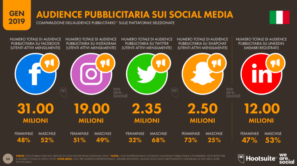 audience pubblicitaria social media