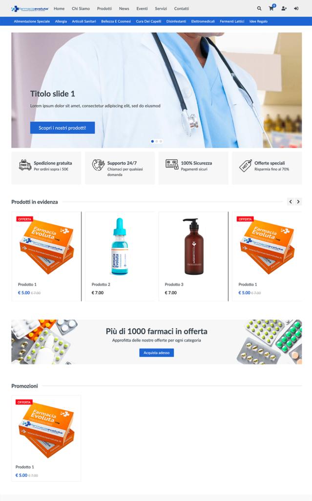 Nuovo template e-commerce da Farmacia Evoluta